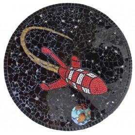 Exemple de mosaïque Plateau tournant décoré avec de la crackle, de la pâte de verre et de la micro-porcelaine aux couleurs de Ti