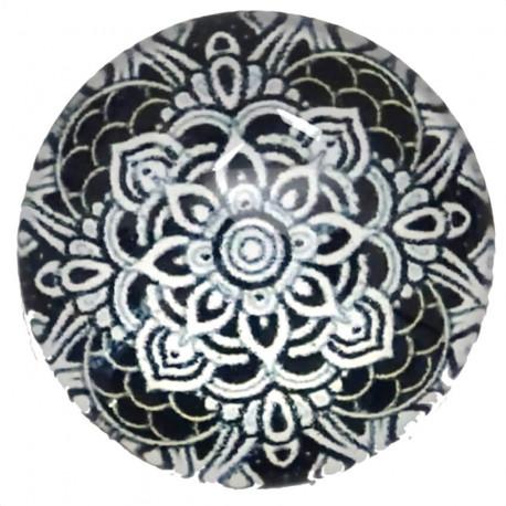 Joli rond motif Mandala de couleur noir et blanc 2,5 x 2,5 cm