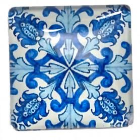 Joli carré motif Mandala de couleur bleu 2,5 x 2,5 cm