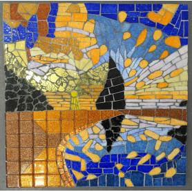 Exemple de Tableau en mosaïque Coucher de soleil décoré avec des Emaux de Briare Harmonie, de la crackle et de la pâte de verre