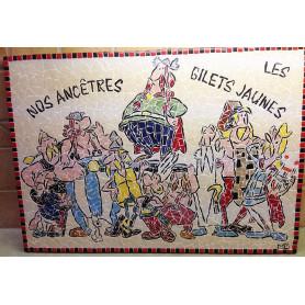 Exemple de tableau en mosaïque décoré avec des Emaux de Briare Harmonie et de la mini-porcelaine à l'effigie d'Astérix