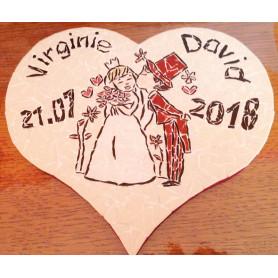 Exemple de support cœur en mosaïque décoré avec des Emaux de Briare Harmonie pour un cadeau de mariage personnalisé