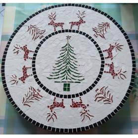 Exemple de mosaïque Plateau tournant décoré avec de la pâte de verre et des Emaux de Briare aux motifs et couleurs de Noël
