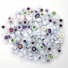 Millefiori CAMAIEU BLANC translucides et opaques aux motifs variés pour mosaïque