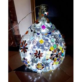 Exemple de mosaïque Pied de lampe décoré avec des pétales et des gouttes d'eau en céramique et des matériaux en verre