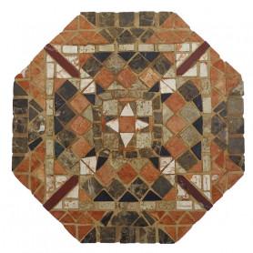 Exemple de mosaïque dessous de plat octogonal décoré avec des tesselles de marbre et inspiré des mosaïques romaines