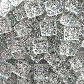 Pâtes de verre pailletées DIAMANT argent 1 × 1 cm vendues par 100 g, 300 g et 600 g