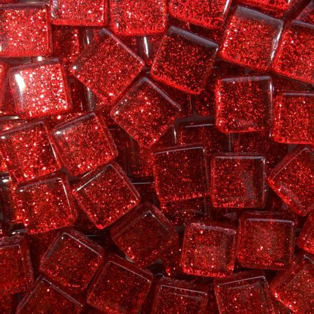Pâtes de verre pailletées RUBIS rouge 1 × 1 cm vendues par 100 g, 300 g et 600 g