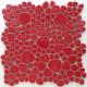 Galets japonais en grès ROUGE GARANCE émaillés mélange aléatoire de tailles vendus à la plaque de 27 × 27 cm
