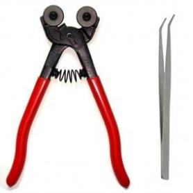 Kit outils mosaïque LOISIRS composé d'une pince à molettes générique et d'une pince brucelles