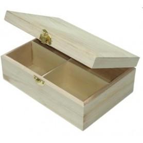 Boîte à thé en bois carrée pour mosaïque 20 × 14 × 7,5 cm