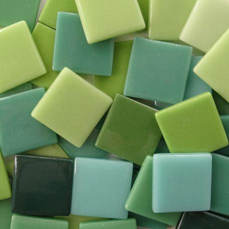 Pâtes de verre espagnoles unies vertes de 2,5 × 2,5 cm