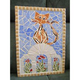 Tableau en mosaique, motif chat de Grèce