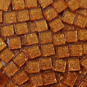 Pâtes de verre pailletées AMBRE orangé 1 × 1 cm vendues par 100 g, 300 g et 600 g