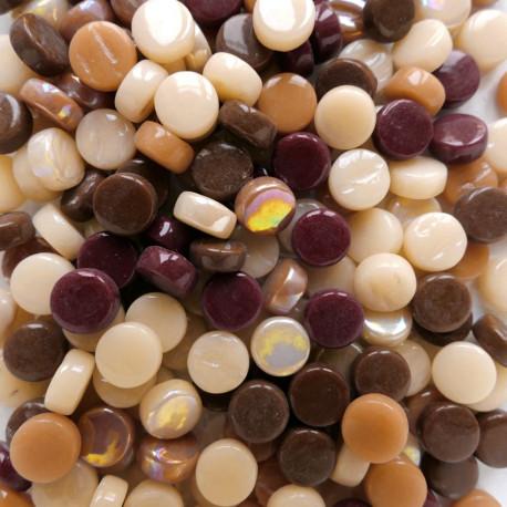 Mini-cabochons XS CHOCOLAT CARAMEL marron vendus par 100 g