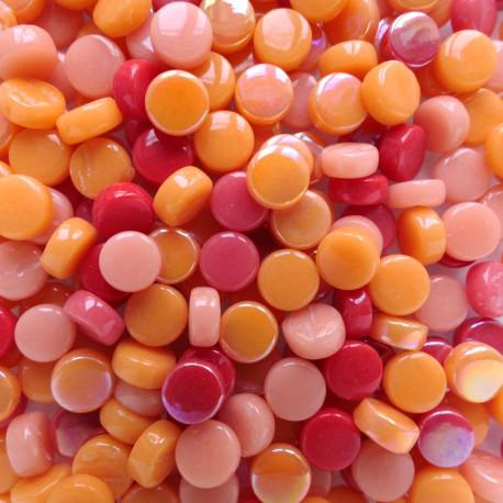 Mini-cabochons XS COQUELICOT rouge orange vendus par 100 g