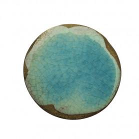 Céramique artisanale émaillée technique du raku ROND bleu turquoise pour mosaïque vue de face