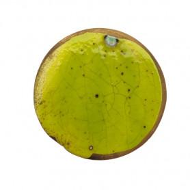 Céramique artisanale émaillée technique du raku ROND vert pour mosaïque vue de face