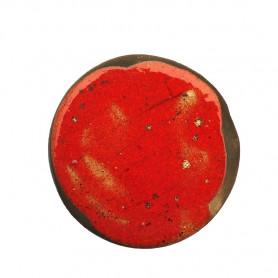 Céramique artisanale émaillée technique du raku ROND rouge pour mosaïque vue de face