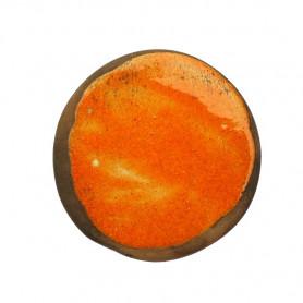 Céramique artisanale émaillée technique du raku ROND orange pour mosaïque vue de face