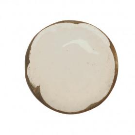 Céramique artisanale émaillée technique du raku ROND blanc pour mosaïque vue de face