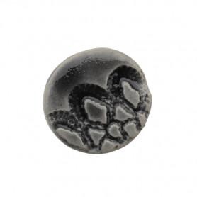 Céramique artisanale émaillée ROND DENTELLE gris pour mosaïque vue de face