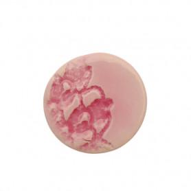 Céramique artisanale émaillée ROND DENTELLE rose pâle pour mosaïque vue de face