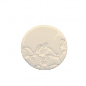 Céramique artisanale émaillée ROND DENTELLE blanc pour mosaïque vue de face