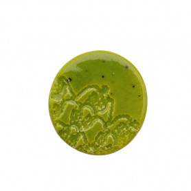 Céramique artisanale émaillée ROND DENTELLE vert olive pour mosaïque vue de face