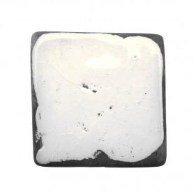 Céramique artisanale émaillée technique du raku CARRÉ blanc pour mosaïque vue de face