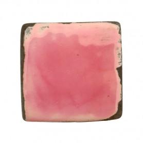 Céramique artisanale émaillée technique du raku CARRÉ rose pour mosaïque vue de face