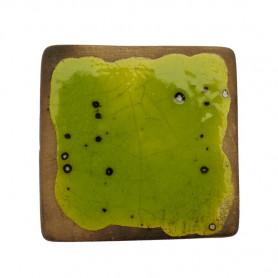 Céramique artisanale émaillée technique du raku CARRÉ vert pour mosaïque vue de face