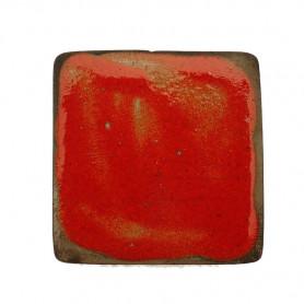 Céramique artisanale émaillée technique du raku CARRÉ rouge pour mosaïque vue de face