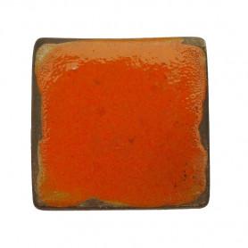 Céramique artisanale émaillée technique du raku CARRÉ orange pour mosaïque vue de face