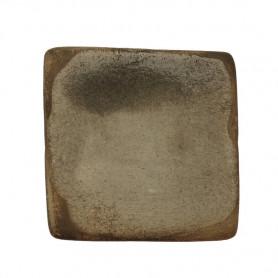 Céramique artisanale émaillée technique du raku CARRÉ gris pour mosaïque vue de face