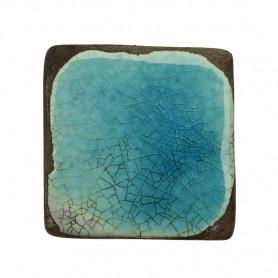 Céramique artisanale émaillée technique du raku CARRÉ bleu turquoise pour mosaïque vue de face