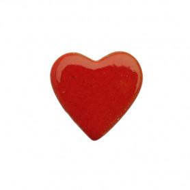 Céramique artisanale émaillée CŒUR rouge pour mosaïque vue de face