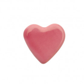 Céramique artisanale émaillée CŒUR rose pâle pour mosaïque vue de face