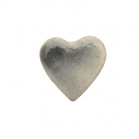 Céramique artisanale émaillée CŒUR gris pour mosaïque vue de face