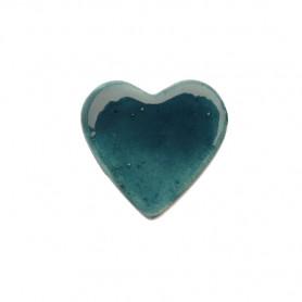 Céramique artisanale émaillée CŒUR bleu canard pour mosaïque vue de face