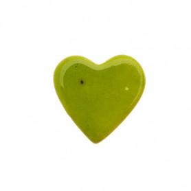 Céramique artisanale émaillée CŒUR vert olive pour mosaïque vue de face