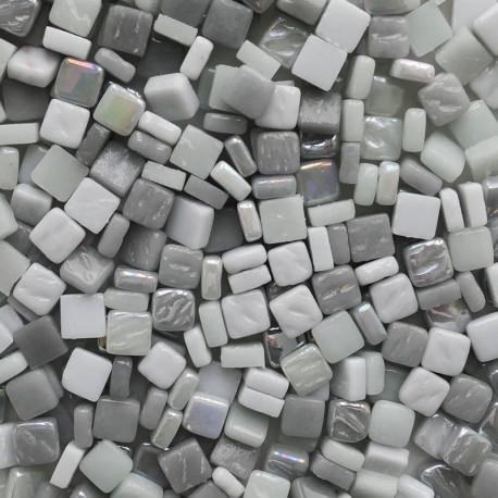 Petites pâtes de verre CAMAÏEU GRIS 8 × 8 mm