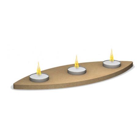 Bougeoir ovale en bois 3 emplacements pour bougies chauffe-plat à décorer en mosaïque 30 cm