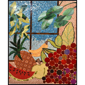Exemple de Panneau décoratif en mosaïque aux motifs fruits et feuilles réalisés en verre américain et Emaux de Briare