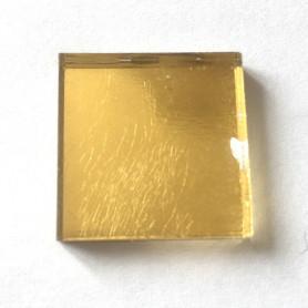 Pâte de verre OR JAUNE lisse 2 × 2 cm déclassée vendu à la pièce