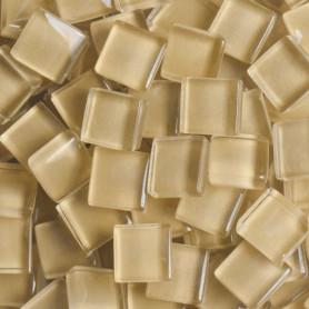 Pâtes de verre translucides Macadamia beige 10x10 mm