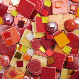 Cocktail Emaux de Briare et pâtes de verre ORANGEADE dans un camaïeu de rouge, orange et jaune vendu par 500 g, 1 kg et 3 kg
