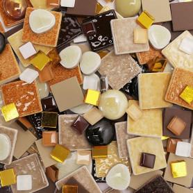 Cocktail Emaux de Briare, Grès Cérame et Translucides LIÉGEOIS camaïeu de beige et marron vendu par 500 g, 1 kg et 3 kg