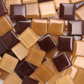 Pâtes de verre translucides Cocktail Caramel mélange de marron beige 2 × 2 cm