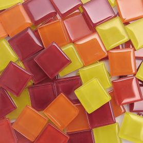 Pâtes de verre translucides Cocktail Citrouille mélange de rouge, orange et jaune 2 × 2 cm